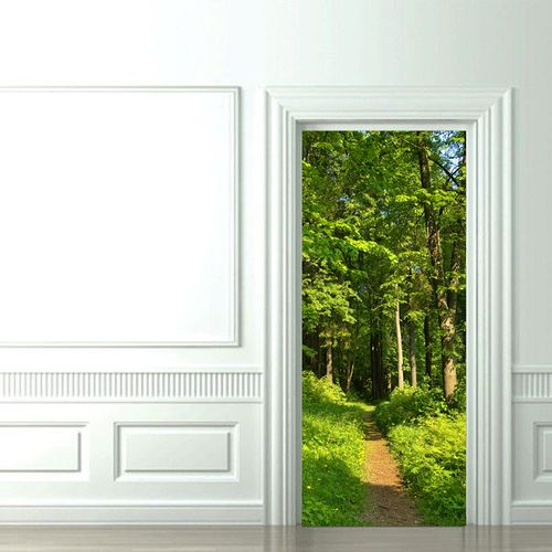 Фото обои на дверь в интерьере