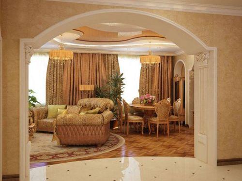 Арка в зале и гостиной — украшение интерьера