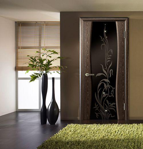 Межкомнатные двери из черного стекла в интерьере