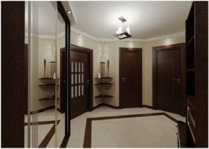 Темные двери и светлый пол в интерьере