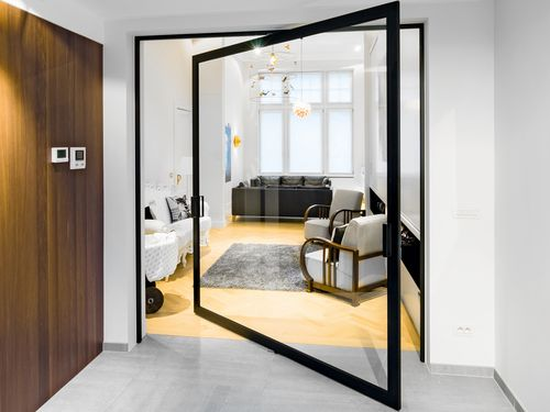 Маятниковая дверь в современном интерьере