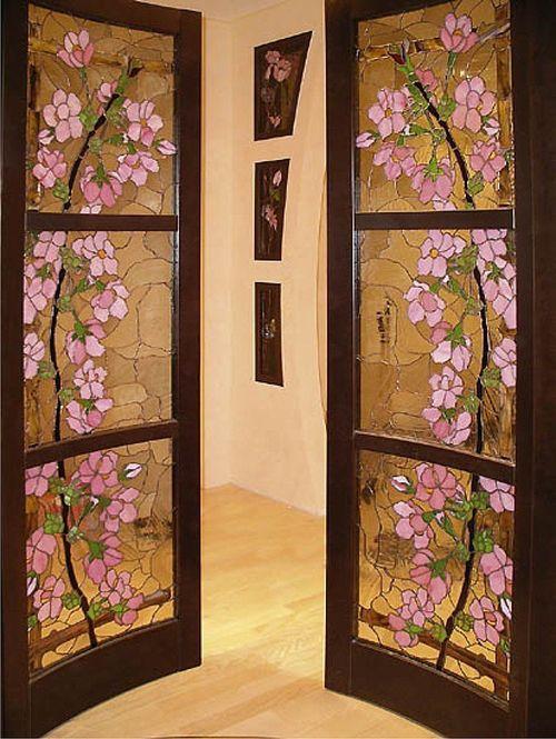 Витражные двери с фотопечатью